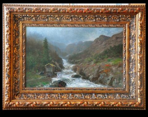 «Elvelandskap med mølle», 1876