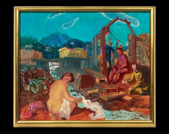 «Naken badende kvinne og arbeidere»