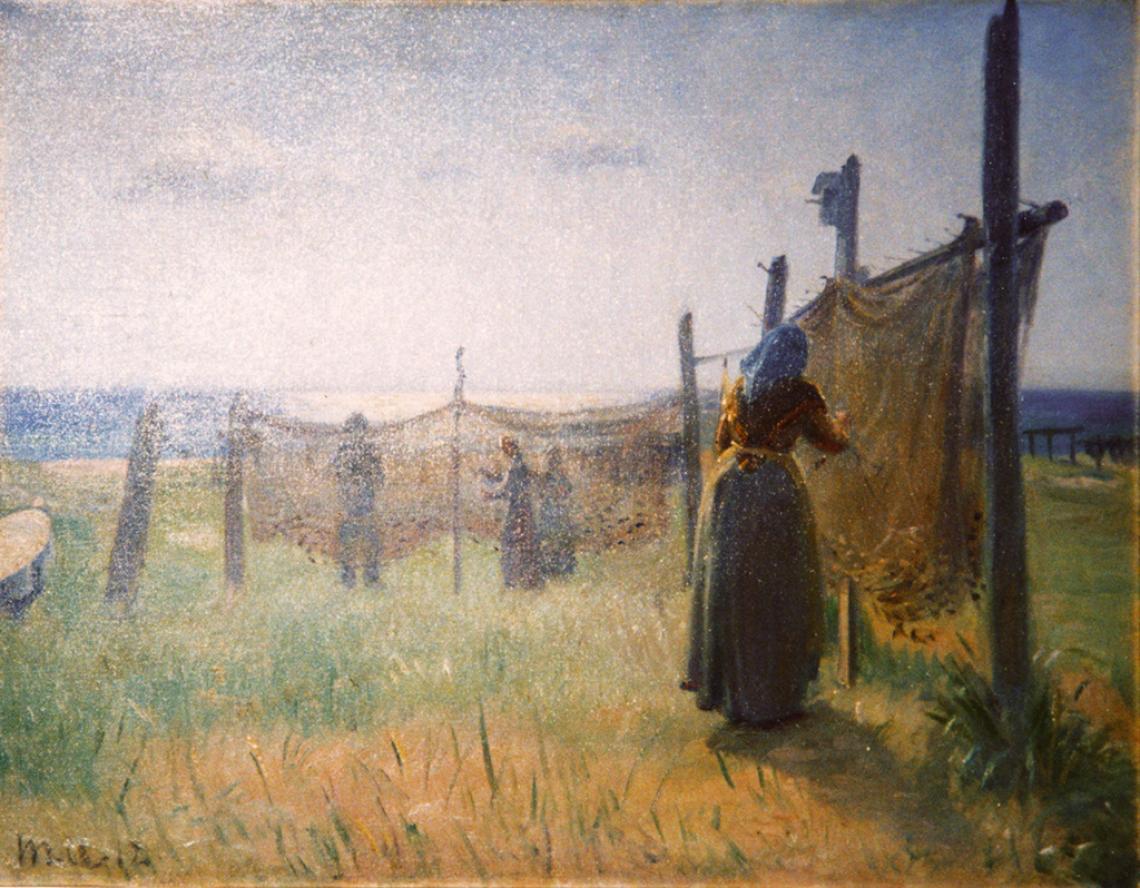 «På stejlepladsen, fiskekoner ordner nettene, Skagen», 1927
